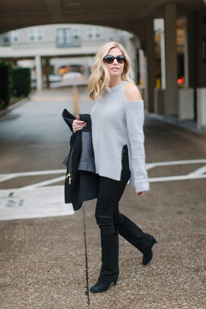 grey cut out sweater-black skinny jeans-black suede boots-neutral winter outfit-fashion blogger dallas