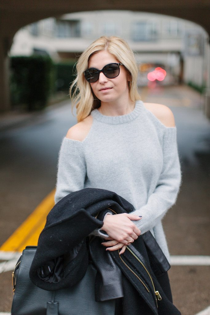 shoulder cut out sweater grey