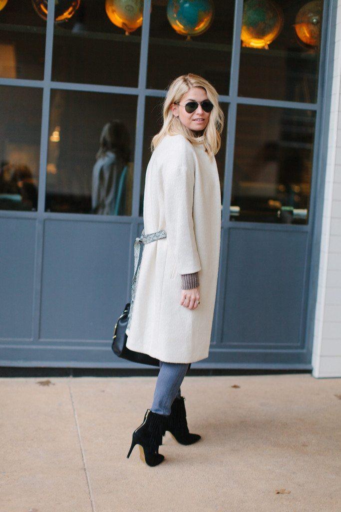 winter white coat with tie belt-hm white coat-off white coat