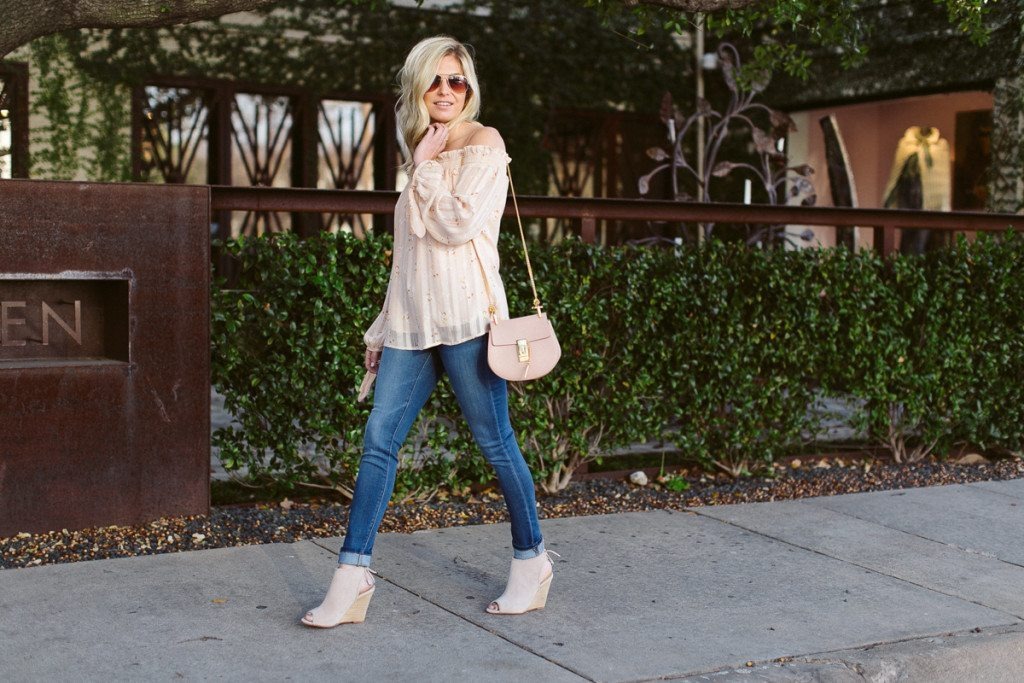 pink floral off the shoulder top-pink chloe bag-spring wedge bootie-dallas fashion bloggers