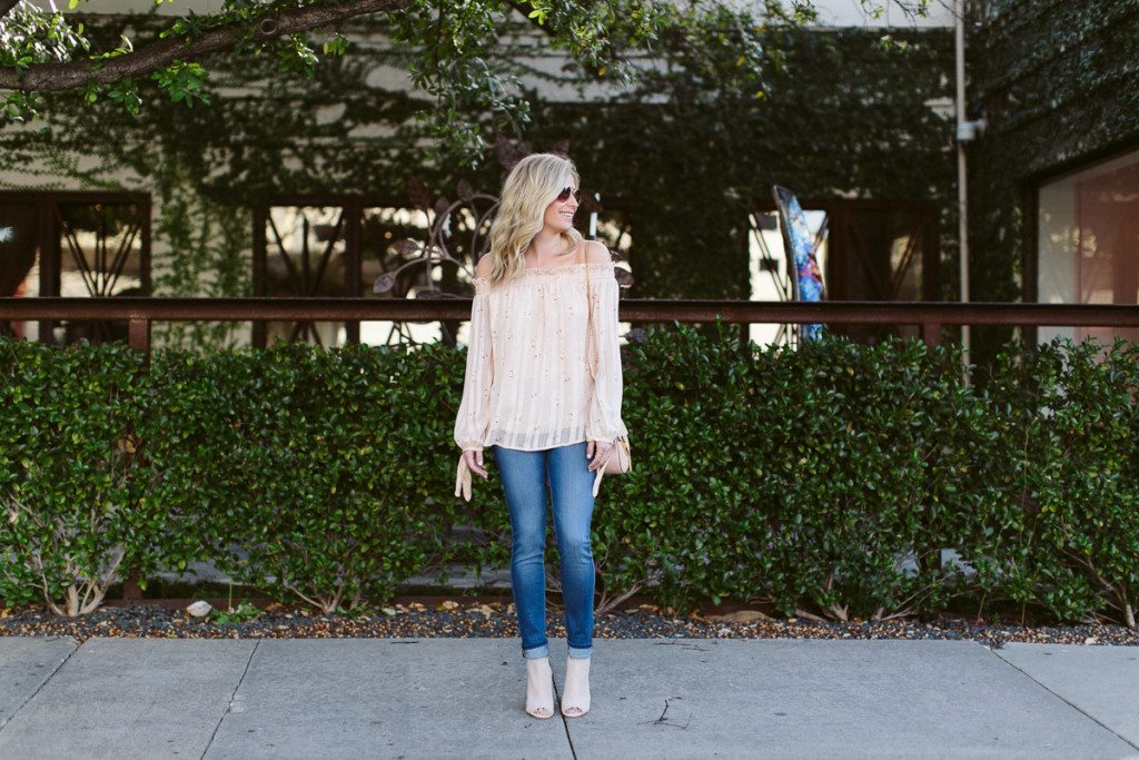spring outfit idea-floral off the shoulder blouse-spring bootie-dallas fashion blogger