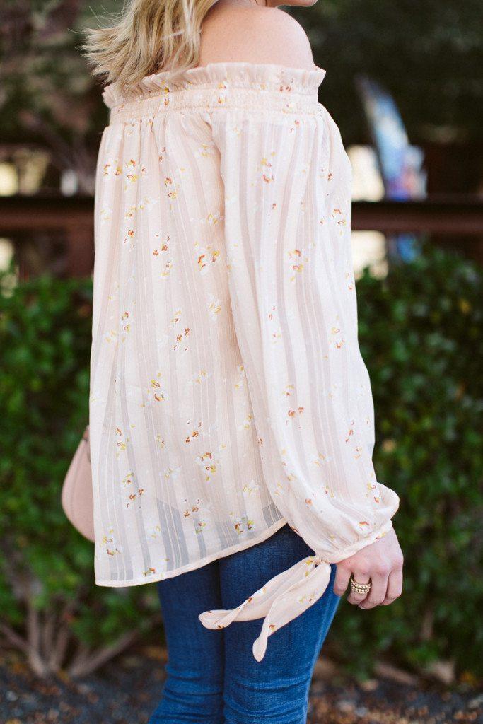 nordstrom off the shoulder blouse-light pink off the shoulder top