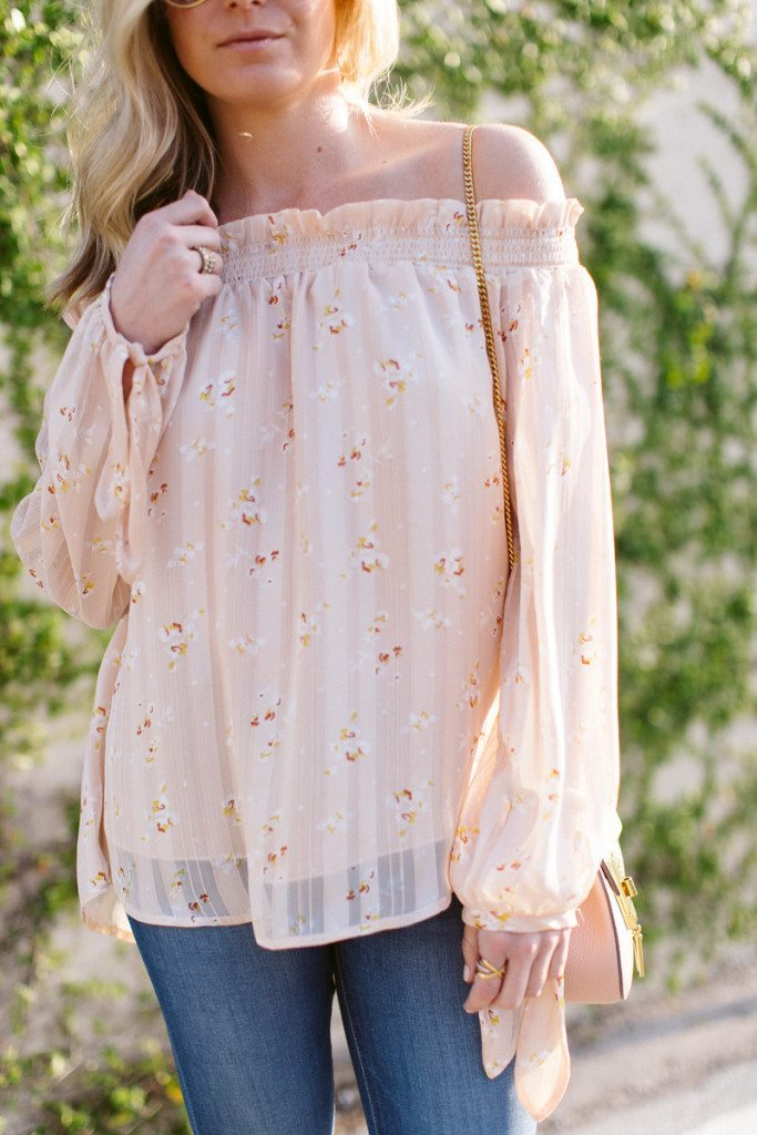 pink off the shoulder blouse with ties