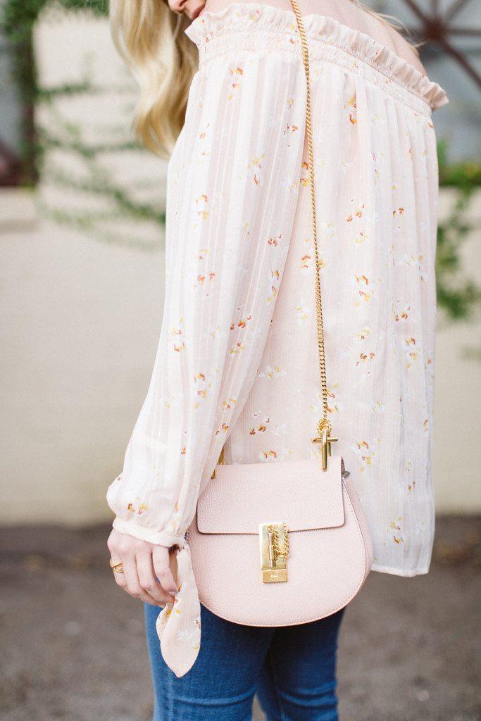 pink floral off the shoulder top-pink chloe bag