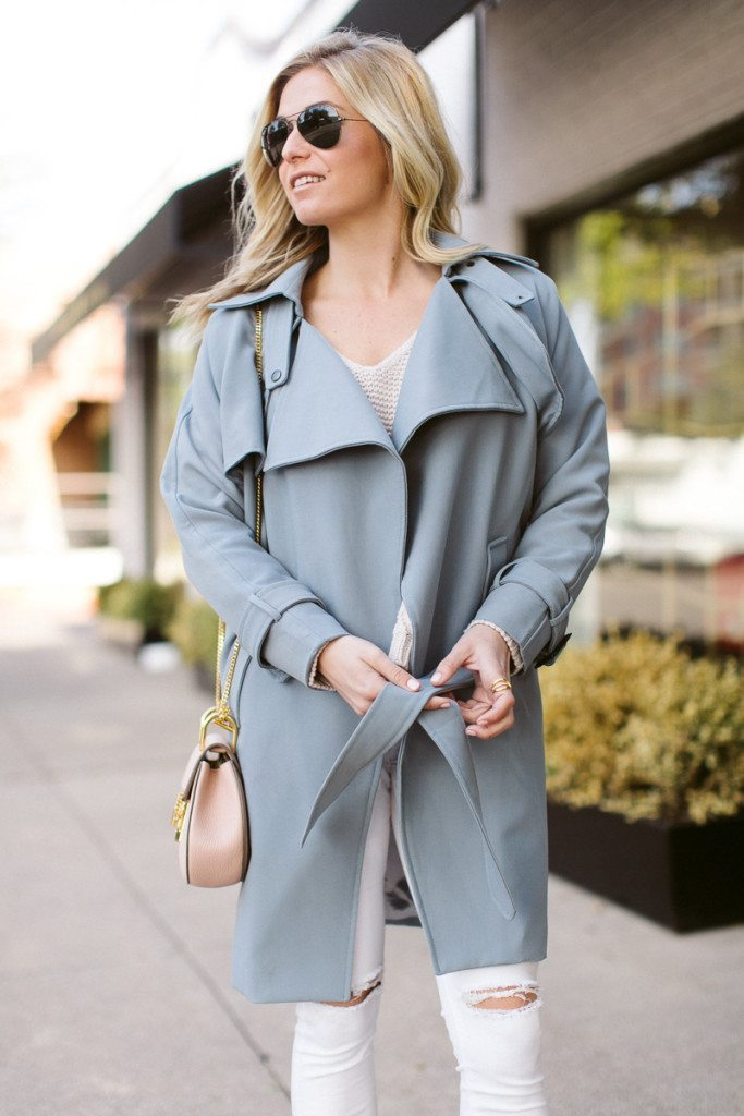 belted trench coat-pantone color of the year-chloe drew bag