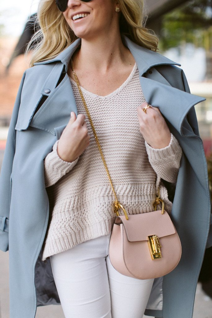 chicwish belted trench coat-chloe pink drew bag-pantone color of the year outfit