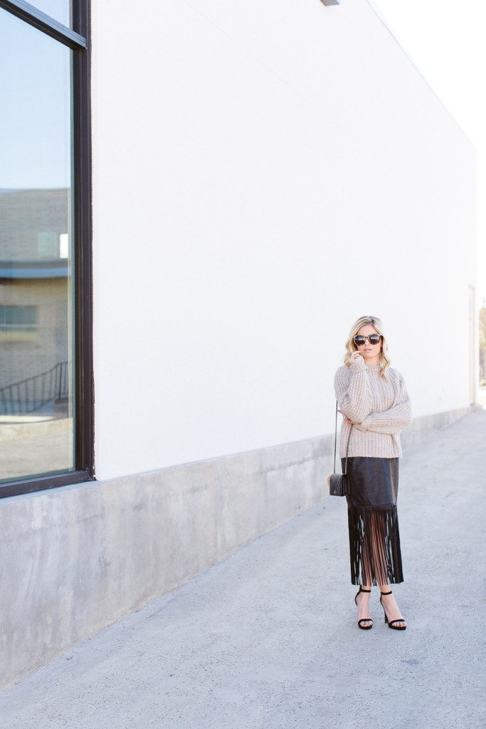 how to dress for NYFW-black faux leather fringe skirt-ribbed oversized sweater-dallas fashion bloggers