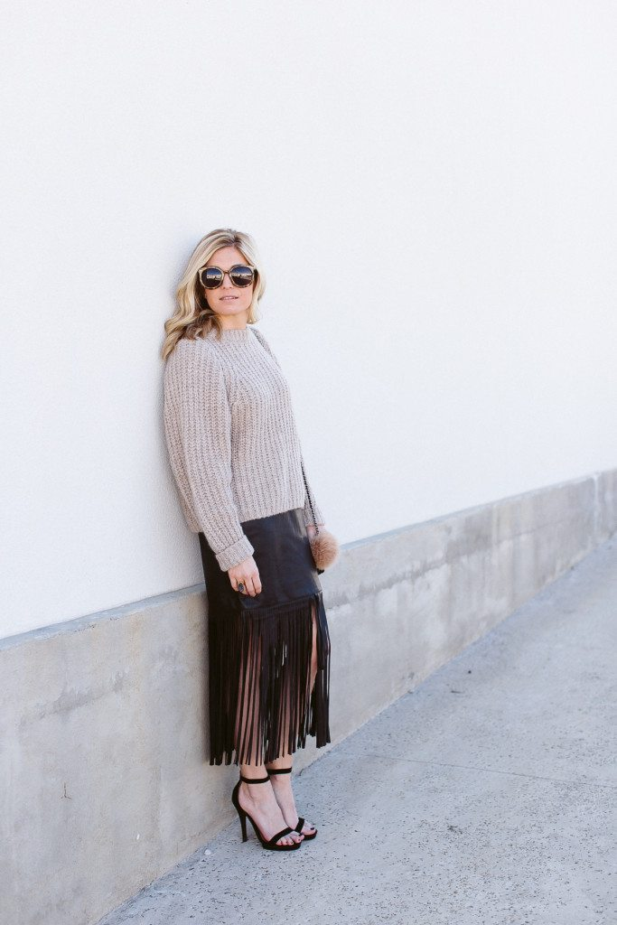 how to dress for nyfw-black fringe skirt-oversized sweater