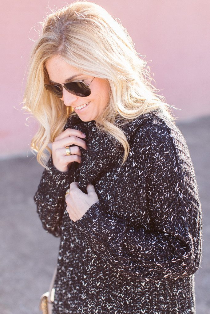 black and white chunky sweater