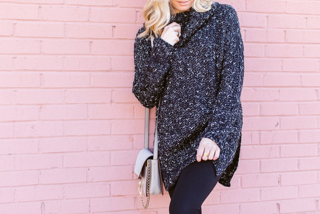 black cowl neck oversized sweater