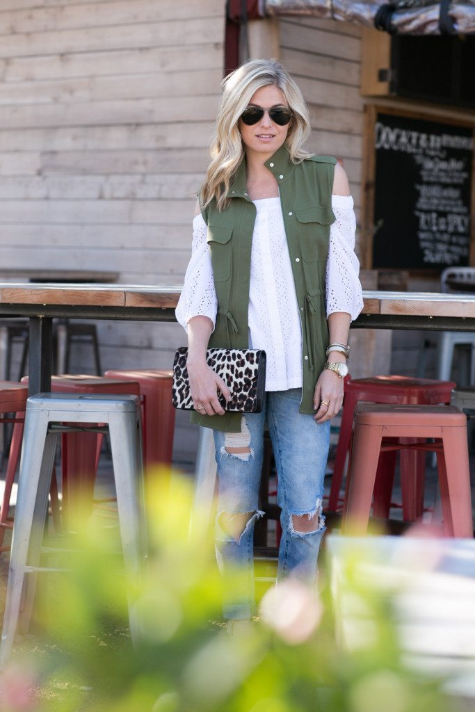 military style vest-white off the shoulder top-leopard clutch