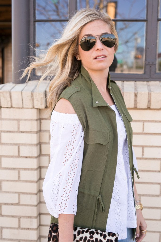 green drawstring vest-white tie off the shoulder top