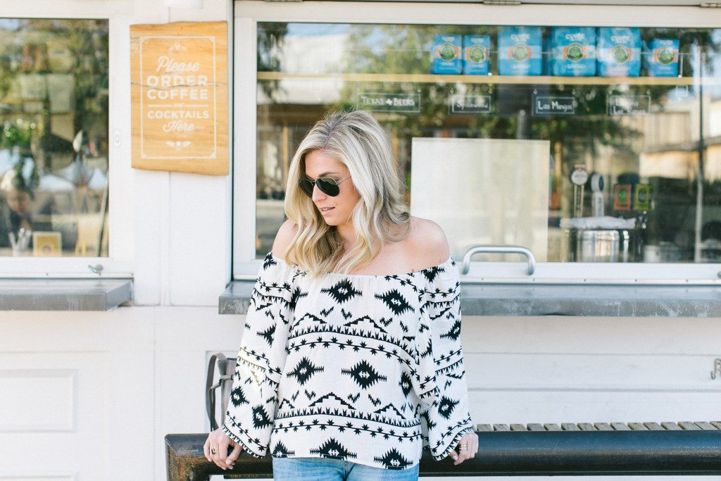 tribal print off the shoulder top