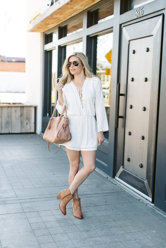 sxsw outfit idea-white lace up romper-frye booties-dallas fashion blog