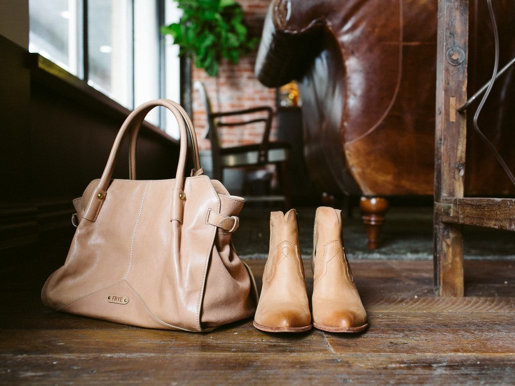 frye boots and purse