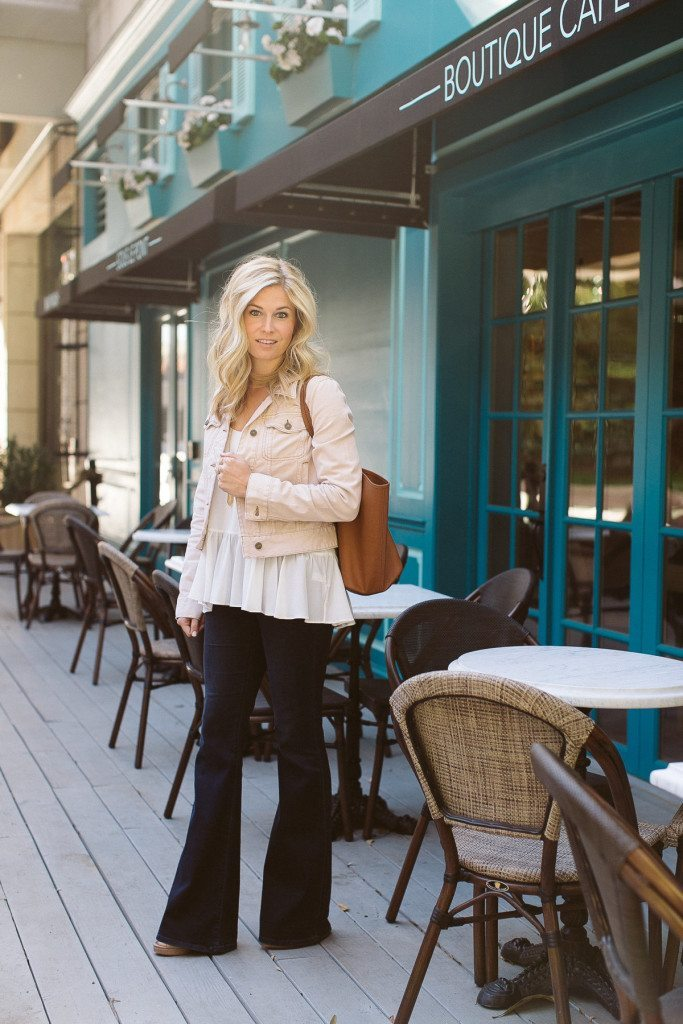 free people fitted pink denim jacket-wide leg flare jeans-dallas fashion blog-dallas style blogger