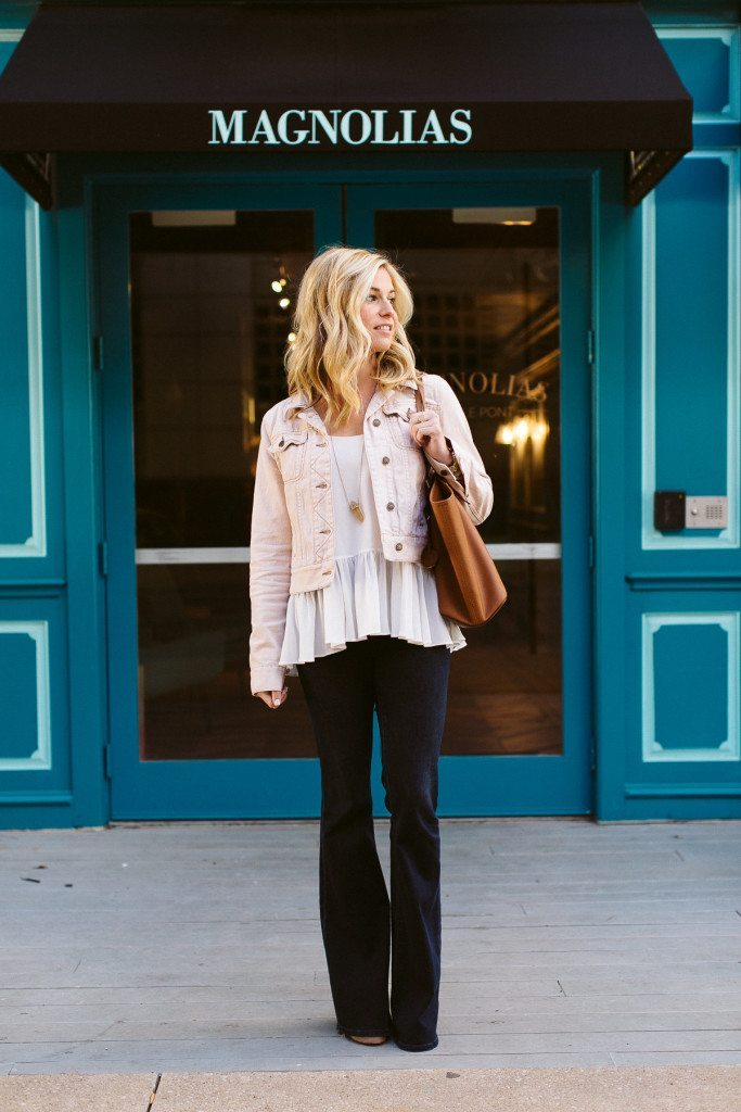 light pink denim jacket free people-casual friday work outfit-fashion blogger dallas