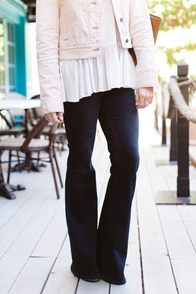 dark flare leg jeans-white ruffle camisole