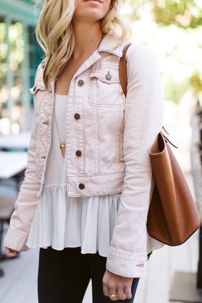 pink denim jacket-free people denim jacket