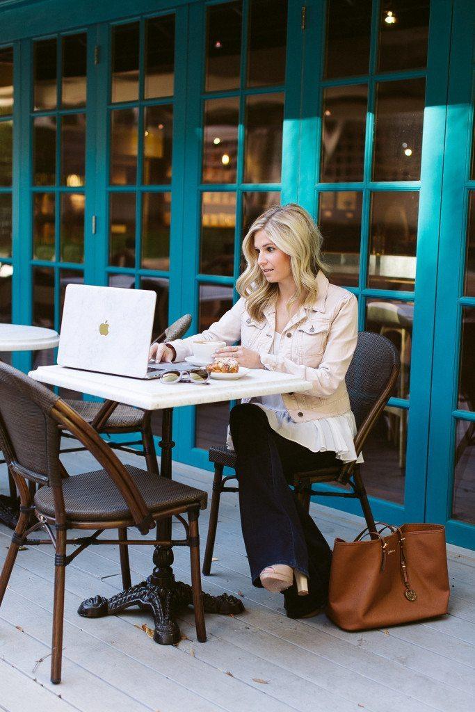 coffee talk-magnolias coffee shop dallas-marketing consultant dallas tx-pink denim jean jacket-dallas fashion blogger