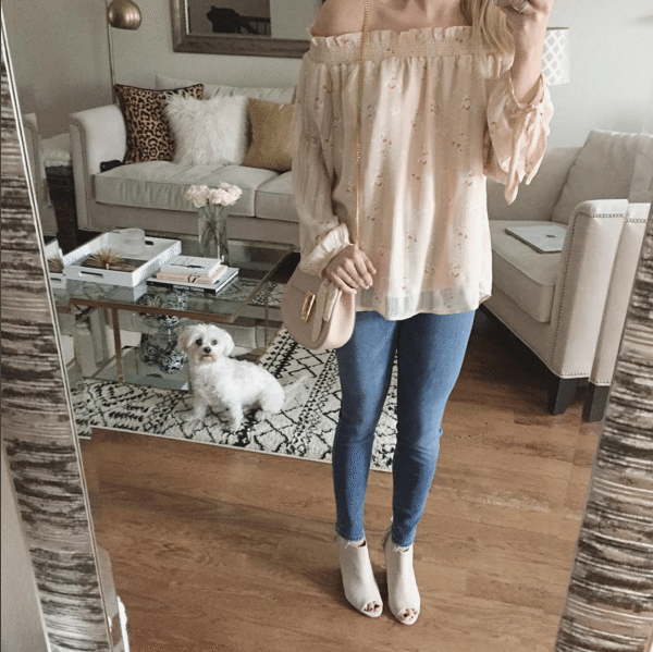 ootd photo pink off the shoulder blouse