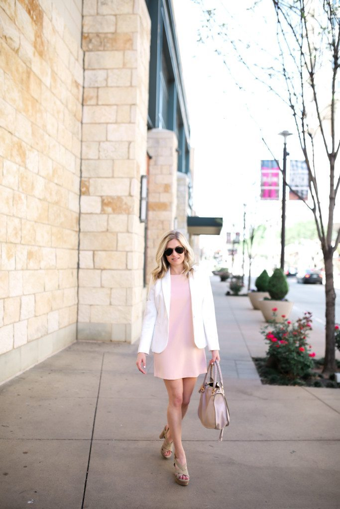 chic at every age white blazer pink shift dress