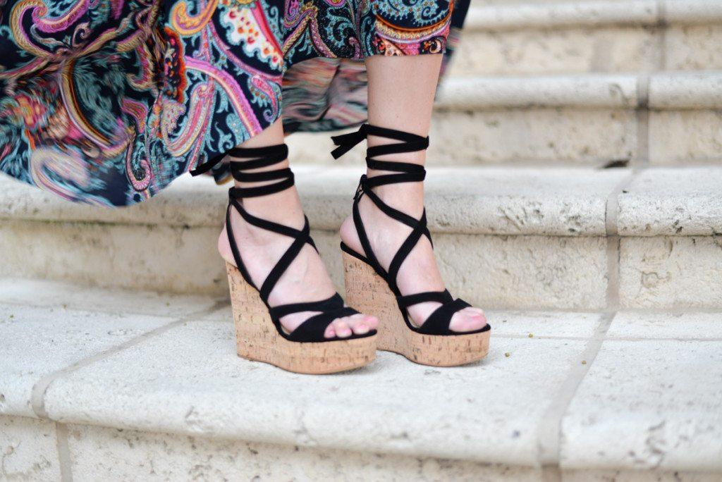 m gemi black lace up wedge heels