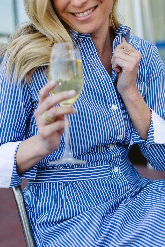 button down striped shirtdress