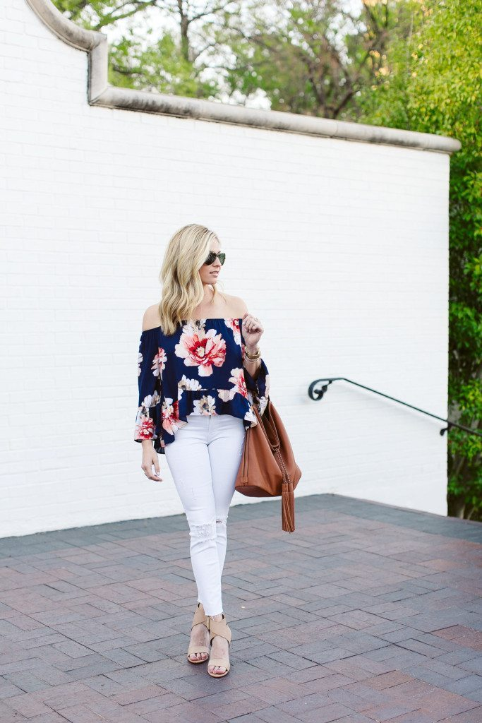 blue floral off the shoulder top-causal beach outfit-white ripped skinny jeans