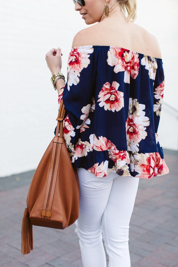 blue floral off the shoulder top-rebecca minkoff satchel with tassel