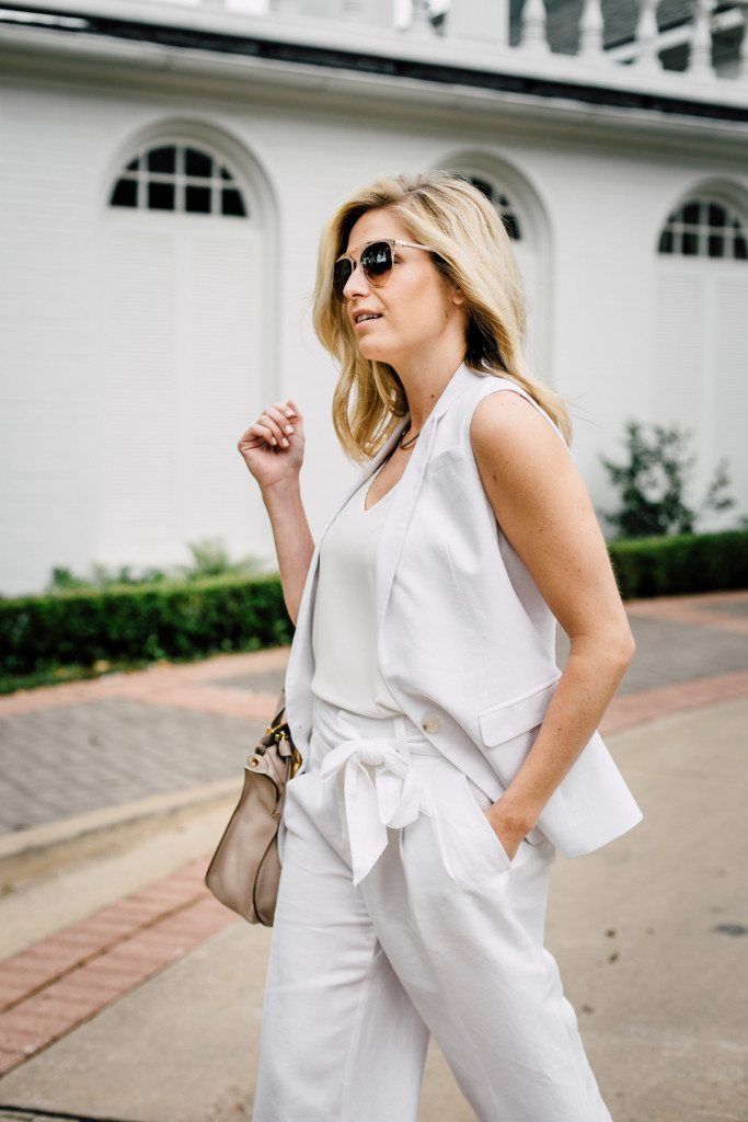 white linen sleeveless vest-white linen pants with tie