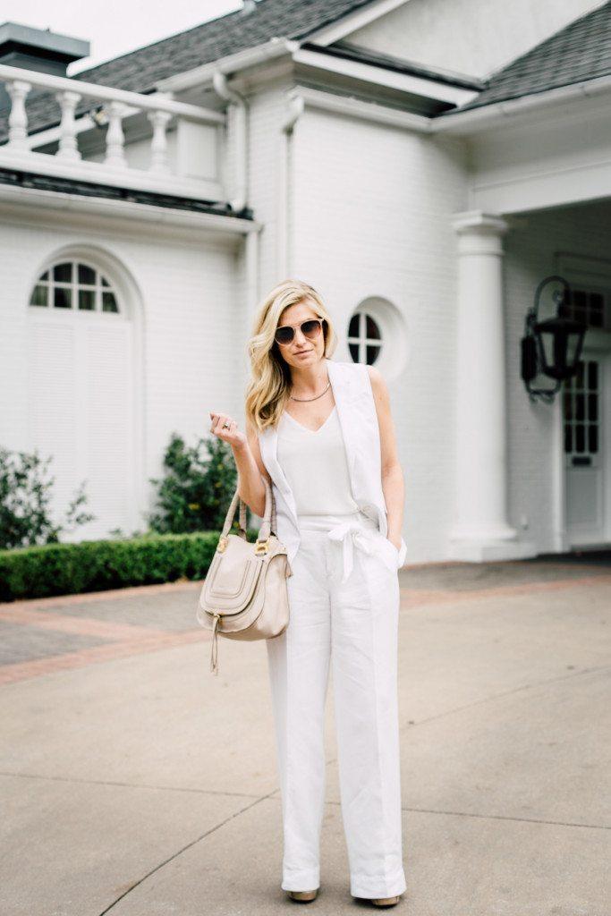 all white summer outfit-white linen wide leg pants-white sleeveless vest-chloe marcie bag-dallas fashion blogger