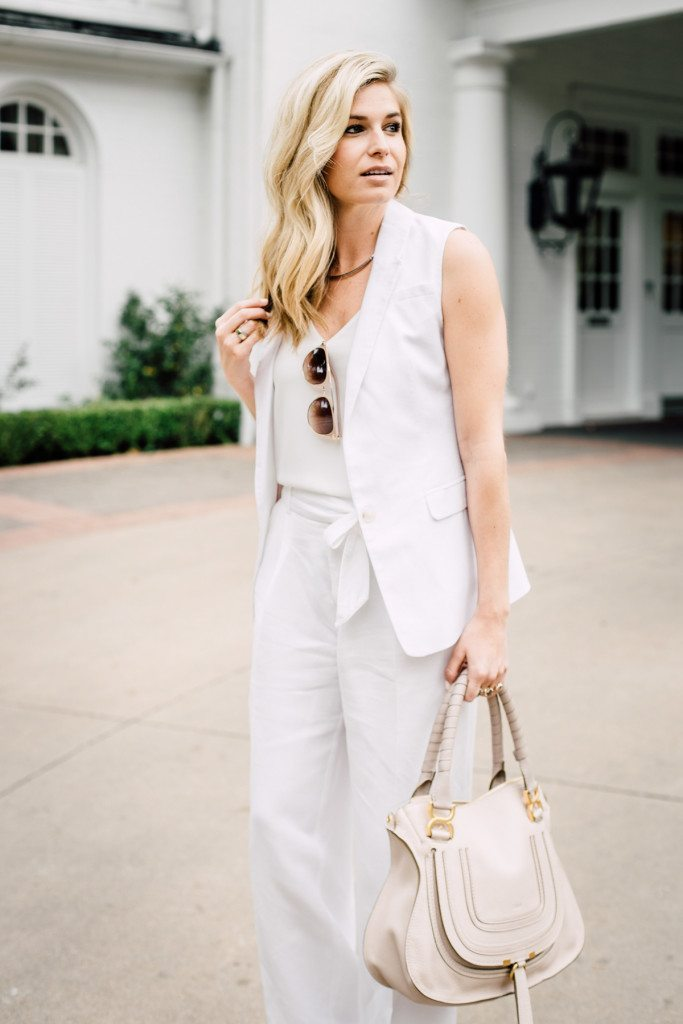 all white pant suit outfit