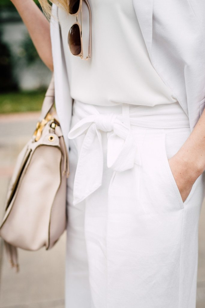 white belted linen pants