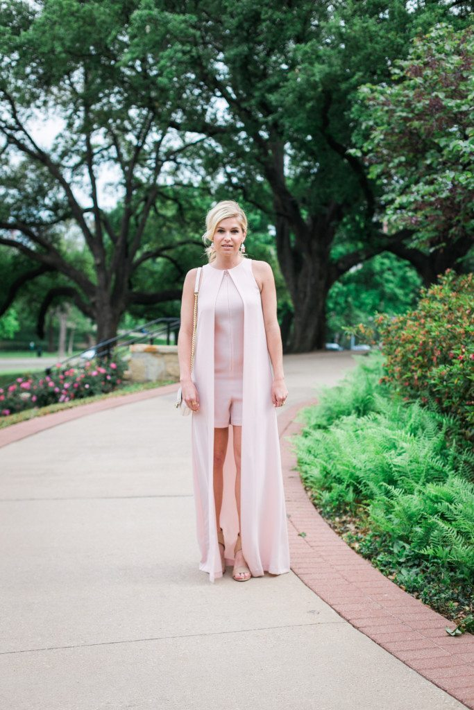 pink romper with long cape overlay-garden party outfit idea-dallas fashion blogger