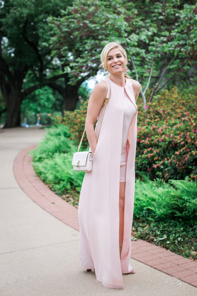 garden party chic dress-blush pink romper with maxi cape