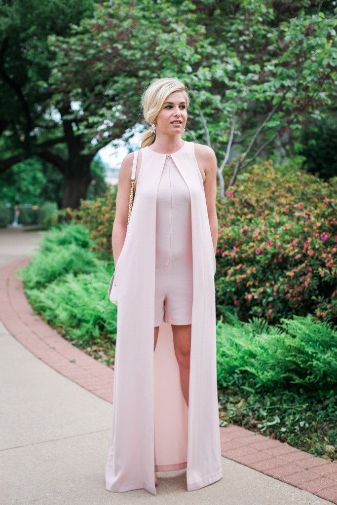 blush pink romper with maxi cape