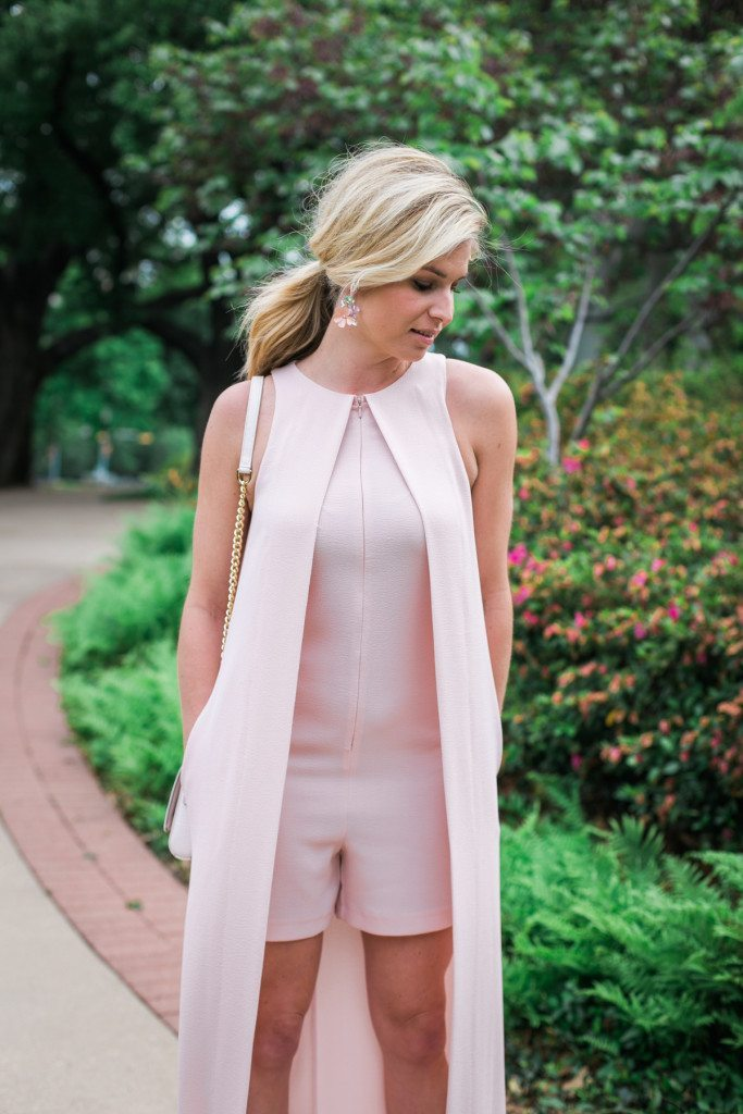 zip front blush romper with cape