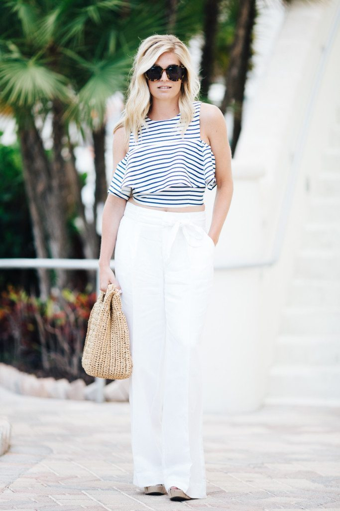 joa flounce crop top with white wide leg linen pants-dallas fashion blogger-beach outfit idea