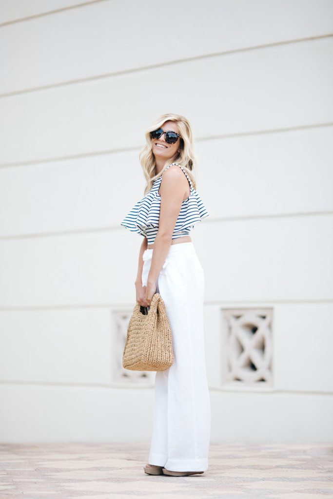 stripe ruffle crop top with white pants