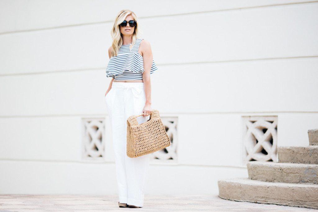 joa flounce crop top-white linen wide leg pants-beach outfit inspiration-dallas fashion blogger