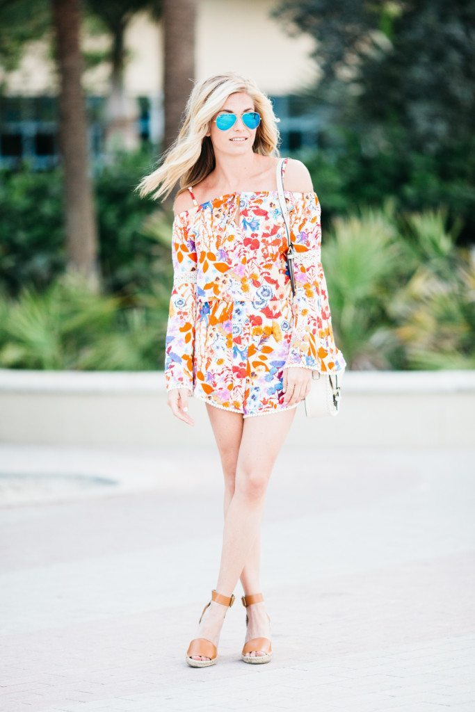 red floral romper - romper - beach style vacation - fashion blogger - fashion style advice - beach outfit - miami beach