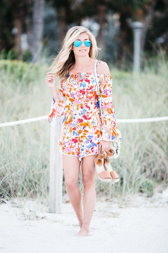 red floral romper - miami beach - travel vacation style - travel style - beach vacation style - fashion inspiration summer
