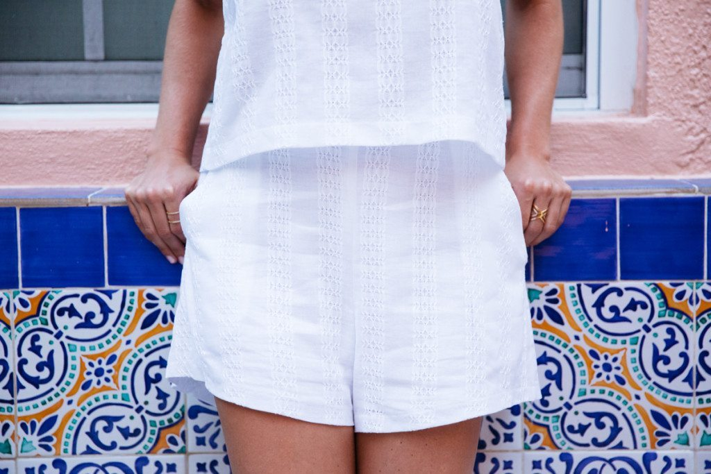 white shorts - embroidered cotton shorts - all white outfit - dallas fashion blogger - miami beach
