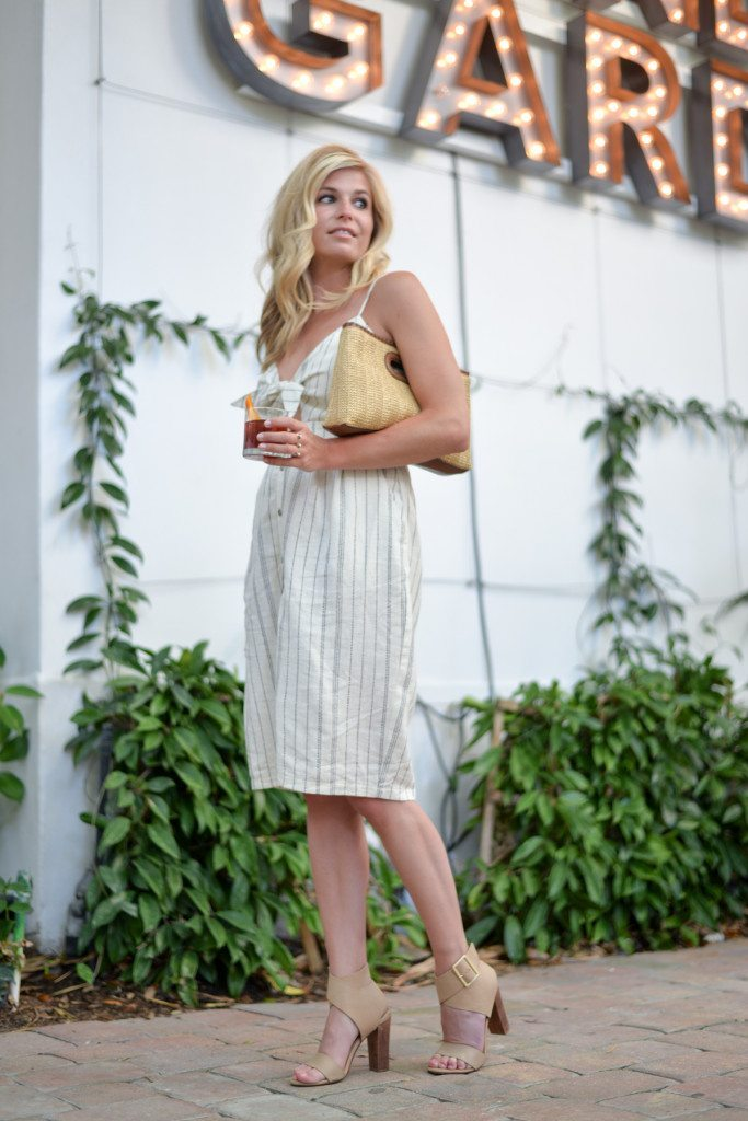 tie front sailor stripe dress-miami beach outfit inspiration