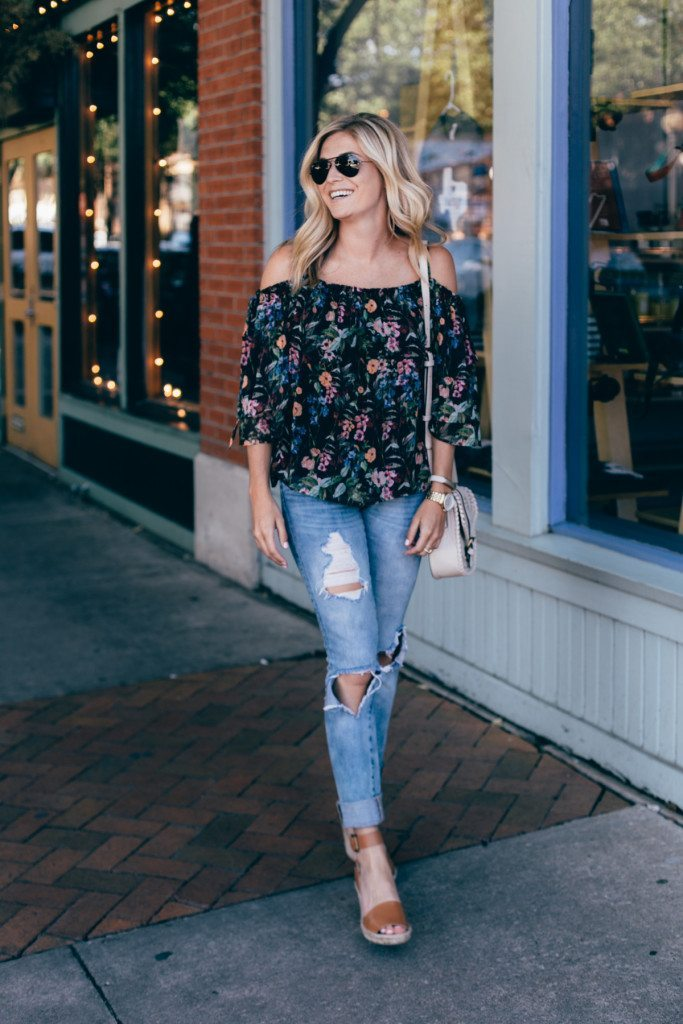 black off the shoulder top - brown wedges - casual date night outfit