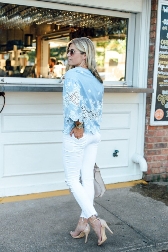 dinner night outfit - blue and white outfit - brown sunglasses
