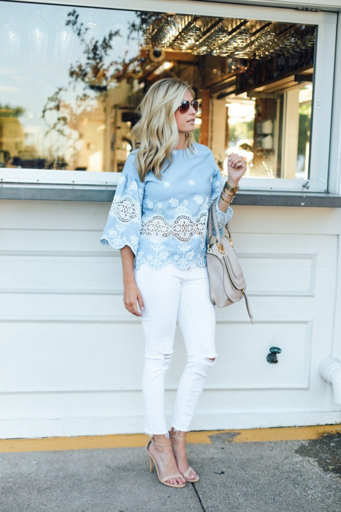 white ripped jeans - tan heels - blue top
