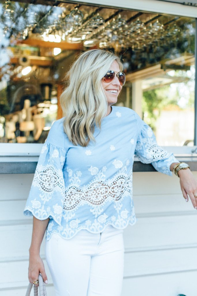 light blue lace top - dinner outfit - uptown dallas outfit