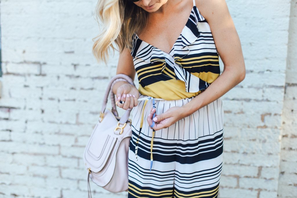 culotte jumpsuit - gold ring - stripe outfit